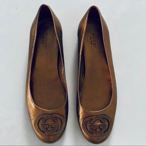 Gucci Authentic Gold Flats 7.5
